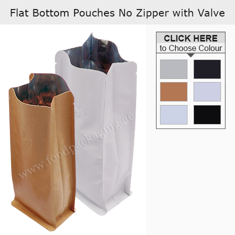 Flat Bottom Pouches No Zipper With Valve